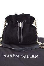 Karen Millen Black Suede Leather Drawstring Tote Chain Body Shoulder Hand Bag