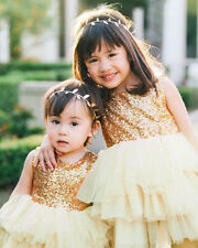 Kids Baby Girl Sequin Dress Bow Backless Formal Party Gown Bridesmaid Tutu Dress