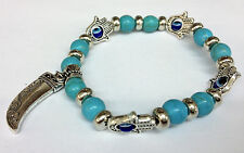 8mm Turquoise Bead & Eye/Hand with Oxhorn Charm Stretch Bracelet - JTY906