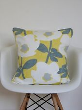 "16"" inch Cushion Cover Saffron Mustard Yellow Grey Bermondsey Flower Print **"