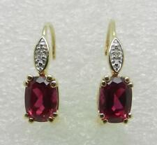 14K GOLD YELLOW GOLD RUBY LEVER-BACK EARRINGS - LB3001