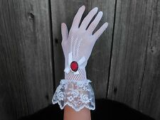 WHITE LACE GLOVES WITH RED ROSE CAMEO - BRIDAL, PROM, FORMAL, WEDDING, COSTUME,