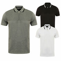Mens Zip Up Polo Top Shirt  Stripe Striped Half Zip Texture Pique Short sleeve