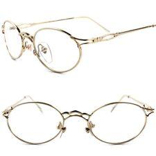 Genuine Vintage Prescription Rx Ready Gold Oval Clear Lens Eye Glasses Frame