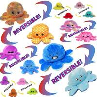 Funny Double-Sided Flip Reversible Octopus Cute Plush Toys & Key Rings UK SELLER