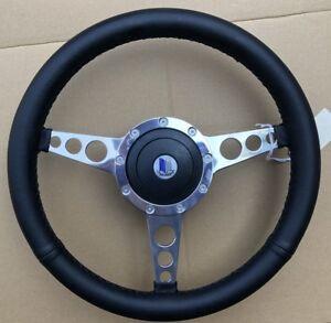 "Triumph Spitfire GT6 TR6 Polished Alloy Spoke Leather 14"" Sports Steering Wheel"