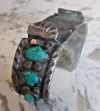 Zuni Artist Angie C. Created Sterling Silver Watch Band Cuff With Tourqouise