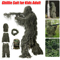 4pcs Ghillie Suit +store Bag 3D Hunting Apparel Including Jacket Pant Hood Wrap
