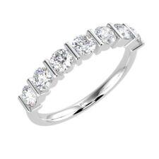 Platinum F/VS 0.50ct sieben runden Diamant Bar Set halbe Ewigkeit Ring