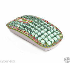 Colorful Gold Crystal Rhinestone 2.4G Wireless Slim Flat Optical Mouse Mice Gift