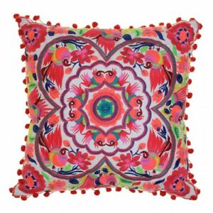 Acapulco Coral Embroidered Cushion - Bombay Duck FLB020C - Brand New w/ Tags