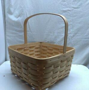 LONGABERGER Hand woven Wood SRJ 1998 Basket Bag Single Fixed Handle No Liner