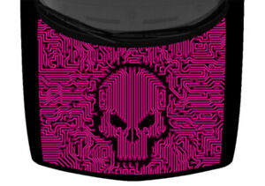 Skull Entangled Technology Hot Pink Truck Hood Wrap Vinyl Car Graphic Decal