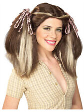 Brown Country Farm Girl Costume Wig With Blonde Streaks
