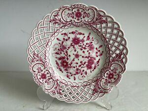 "Meissen Porcelain PURPLE INDIAN Reticulated Plate Openwork Border 8"" Mint"