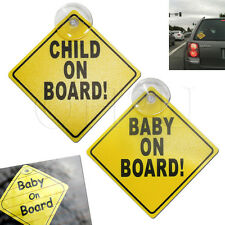 2 Bebé Niño A Bordo Coche Firmar Ventosa Amarillo Brillante fuerte Vehículo De Calidad