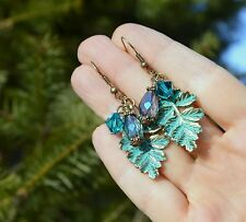 Elven woodland leaf earrings green Swarovski crystal fairy witch mori girl elf