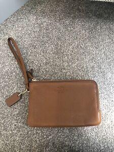 Coach Tan /saddle pebble leather wristlet/clutch -bag