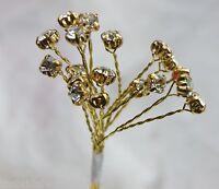 6 Branches Diamante 18 Stones Wedding Flowers Bouquet Buttonholes Bridal Corsage