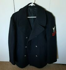 VINTAGE MILITARY VIETNAM ERA USN NAVY PEA COAT JACKET 100% WOOL SIZE 40R