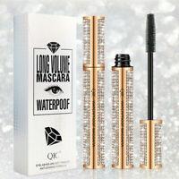 4D Flash Diamond Waterproof Silk Fiber Thick Lengthening Mascara T7K5
