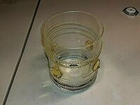 "THERESIENTHAL ""THE18"" - 3 1/2"" OLD FASHIONED GLASS w/THREADING&GOLD AMBER PRUNTS"