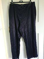 NWOT Shiny Dark Blue M&S Wide Leg Trousers size 20R
