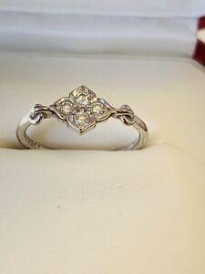Cartier Hindu Diamond 18k White Gold Floral Ring Size 48 - 4.5