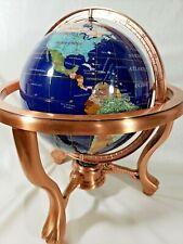 "Semi-Precious Gemstone 10"" World Globe Lapis Ocean Brass Stand & Compass 15"""