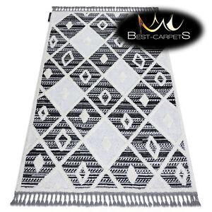 Modern Designer Rug MAROC with fringes, diamonds, shaggy, maroccan BLACK / WHITE