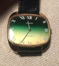 Tissot Vintage Stylist Green & Yellow Wind Up Gold Plated Mens Watch