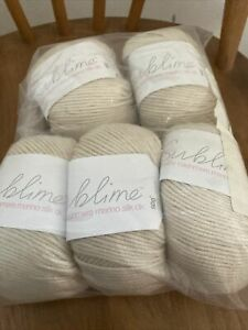 Sublime Baby Wool Cashmere Merino Silk DK Shade 0344 X 5 Cream Beige Linen