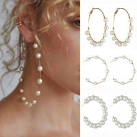 Gold Color  Big Round Circle White Simulated Pearl  Geometric  Hoop Earrings