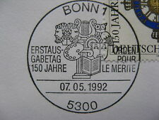 GERMANY BRD, cover FDC 1992, Order Pour le Mérite (Blue Max), canc bird owl
