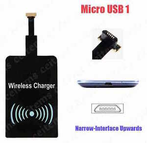 QI WIRELESS CHARGING RECEIVER MICRO USB TYPE 1 NARROW UP FOR ANDROID PHONE ETC.