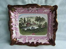 19th C Dixon Sunderland Pink & Copper Lustre Eastern Scene Pottery Plaque