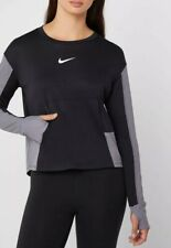 Nike Women's Running Pacer Crew Top Long Sleeve AJ8255-010 Black/Grey Size L New