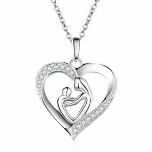 925 Sterling Silver Mothers Daughter Love Heart Pendant Necklace for Women, Mum