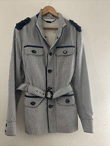 ANGELO GALASSO blue & white Polyester & Cotton jacket Size 50