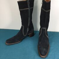 Lisa Ci Italy Black Suede Leather Side Zip Womens Mid Calf Boots size 40 Heeled