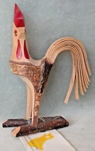 Vintage wooden sculpture of ROOSTER by Mikael Arvidsson, Sweden1998. MINT