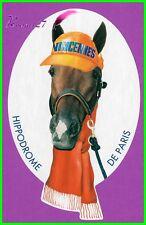 """Ancien Autocollant """" HIPPODROME DE PARIS VINCENNES """" Cheval Horse Casquette"""