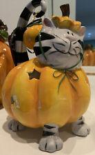 Blue Sky Clayworks Halloween Pumpkin Cat Tealight New W/ Tags