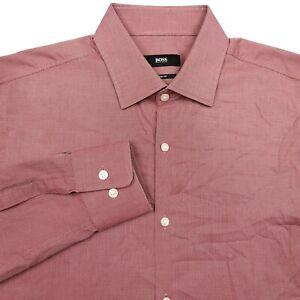 Hugo Boss Sharp Fit Red Button Up Long Sleeve Dress Shirt Men's Size 15.5 34/35