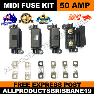 50A MIDI FUSE KIT 4 x ANS Strip Link Holder + 6 x 50 AMP Fuses Dual Battery BOLT