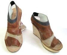 MF GIRBAUD Wedge sandals plateau leather moderate brown grey 37
