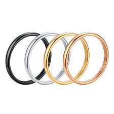Damen Ring Glatt 2 mm Edelstahl 44 - 62 schwarz rosegold silber gold Schmal