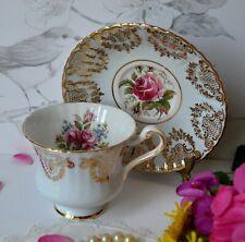 VTG Paragon Teacup Pastel Blue ROSES Gold English Bone China Tea Cup Saucer Set