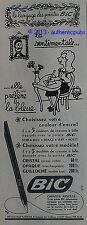 PUBLICITE BIC STYLO LA SENTIMENTALE COULEUR ENCRE JEAN EFFEL DE 1960 FRENCH AD