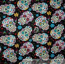 BonEful FABRIC Cotton Quilt Rainbow Flower Skull Head Hippie Gothic SALE L SCRAP